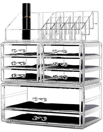 DreamGenius Clear Acrylic 4 Tier Drawers And 16 Grid Stackable Cosmetic  Makeup Storage Cube Organizer And