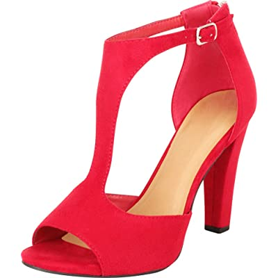 Cambridge Select Women's T-Strap Open Toe Chunky High Heel Sandal | Shoes