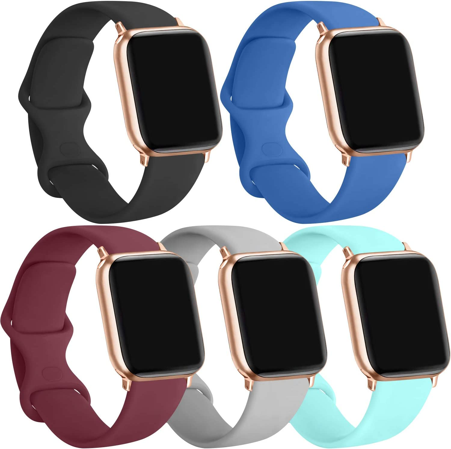 [5 Pack] Silicone Bands Compatible for Apple Watch Bands 42mm 44mm, Sport Band Compatible for iWatch Series 6 5 4 3 SE, Black/Wine red/Blue/Gray/Light Blue, 42mm/44mm-M/L