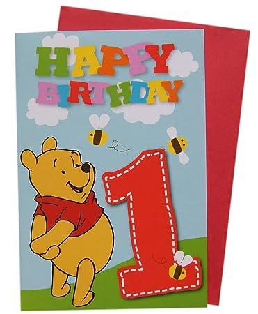 Disney Winnie Pooh Gluckwunschkarte 1 Geburtstag Amazon De