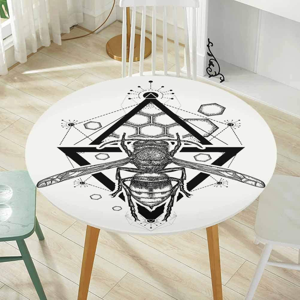Amazon Com Round Tablecloth Diameter 48 Inch Elastic Edge Grid Wallpaper Queen Bee Beehive Pattern With Triangles Background And Sketch Style Monochrome Insect Black White Home Kitchen
