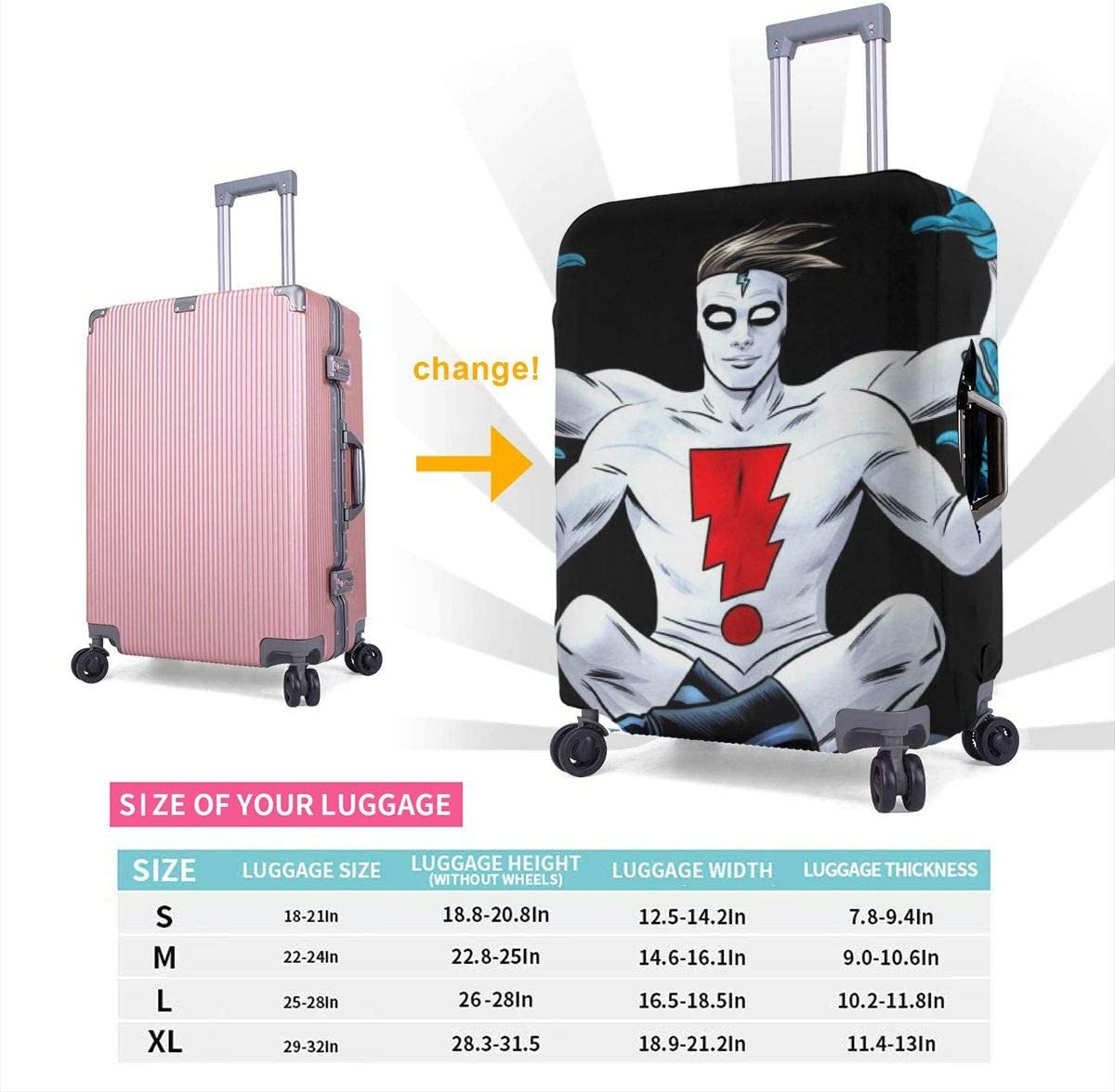 Madman Suitcase Protector Travel Luggage Cover Fit