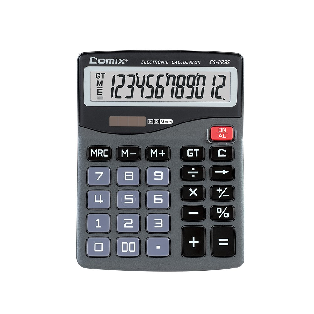 Comix Standard Function Desktop Calculator, Calculator for Office/School/Home/Store, Dual Powered, Large LCD Display, 12 Digits, CS-2292