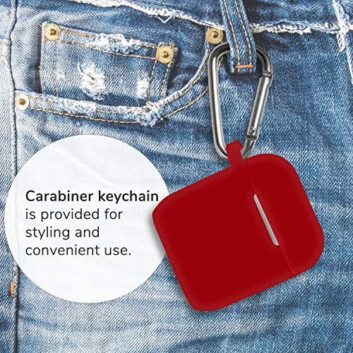 GMYLE Protective Case for Airpods, Silicone Wireless Charging Earbuds Cover with Keychain Accessories kit Set Compatible with Apple AirPods 2 & 1 – True Red