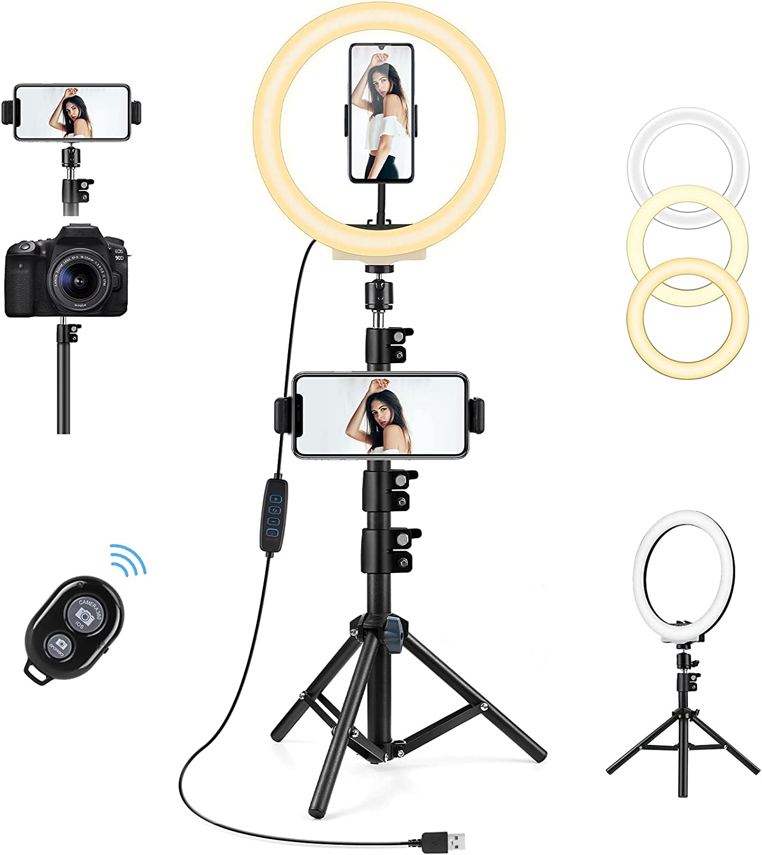 Aro de Luz con Tripode, AGPTEK Anillo de Luz 10,2 Pulgadas con un Trípode 135cm, 3 Colores de Luz y 10 Niveles de Brillo con Control Remoto Selfie Maquillaje Youtube TIK Tok Live