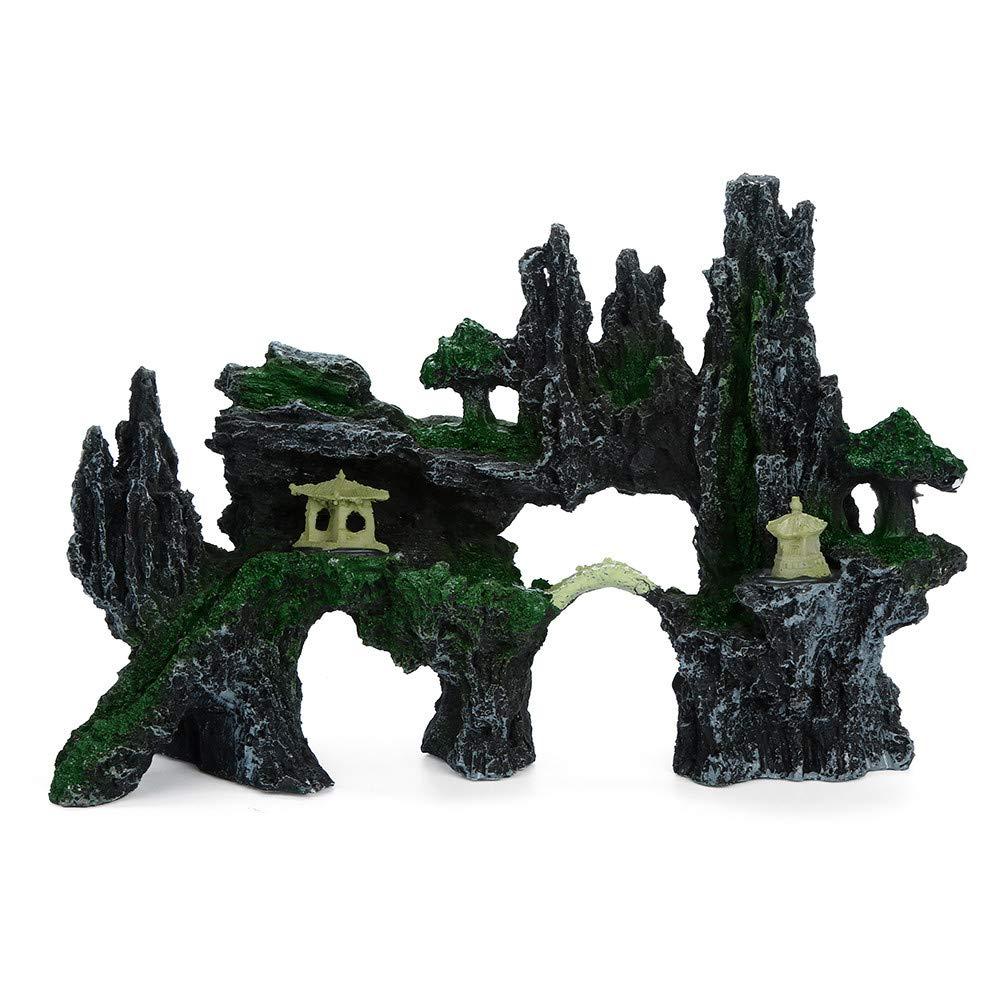 Hunpta@ 1PCS mountain View acquario Rockery ornamento nascondere cave albero decorazione acquario