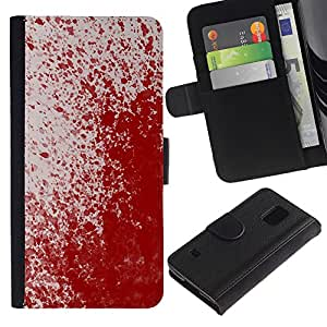 KingStore / Leather Etui en cuir / Samsung Galaxy S5 V SM-G900 / Paint Blood Splash Arte Moderno Rojo aleatoria