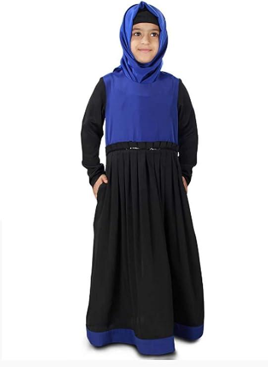 Girls Maxi Dress Kids Lace Wed Long Sleeve Holiday Abaya Islamic Top Eid Party