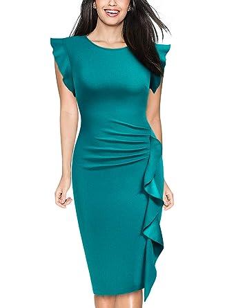 6e9f0b92f5 Miusol Women s Business Retro Ruffles Slim Cocktail Pencil Dress at ...