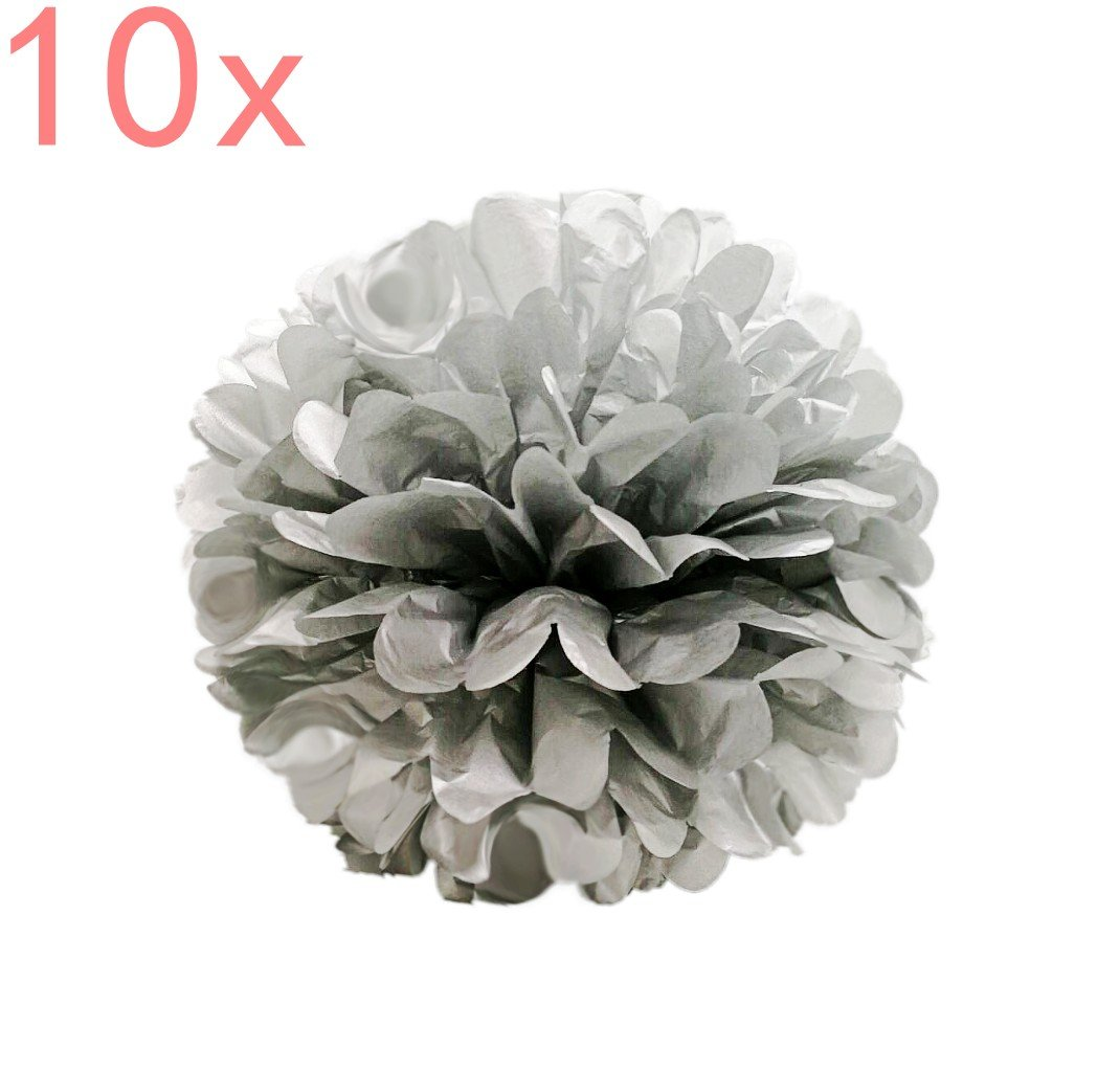 CHSYOO 10x Silver Pom Pom Pompom Pompon, Diameter 25cm, Tissue Paper Decoration for Bedroom Wedding Birthday Kids Party Baby Shower Baptism Christmas