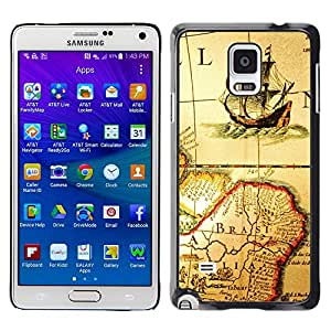 QCASE / Samsung Galaxy Note 4 SM-N910F SM-N910K SM-N910C SM-N910W8 SM-N910U SM-N910 / antiguo mapa viejo barco brazil continente vela / Delgado Negro Plástico caso cubierta Shell Armor Funda Case Cover