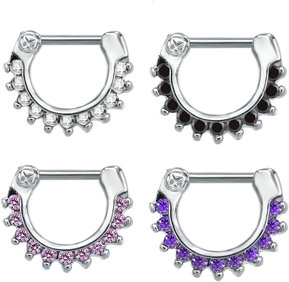 4PCS 316L Surgical Steel Septum Clicker Clicker Ring Bling Cubic Zirconia Nose Ring Ear Cartilage Helix Hoop Piercing