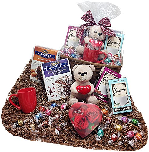 Baking-Cappuccino-Lovers-Deluxe-Valentines-Day-Candy-Chocolate-Gifts-Basket-Lindt-Lindor-Chocolate-Truffles-Ghirardelli-Cookie-Brownie-Mixes-CappuccinosMug-Candy-Heart-Teddy-Bear