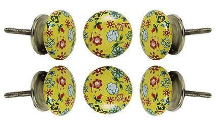knobsworld 20/verde estilo Retro Look Mixed redondo flor forma cer/ámica Pottery tirador de la puerta Perillas tirador para armario cajones tiradores de armario pomo/ /Azul