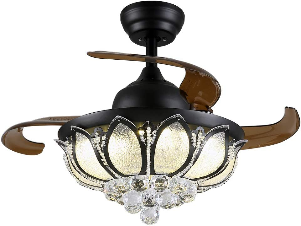 Moooni 36 Inch Fandelier Invisible Ceiling Fans with Lights and Remote Retractable Blades Crystal Chandelier Fan Dimmable LED Black