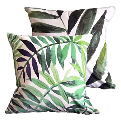 Decorative Outdoor Pillow Covers 18x18 Inch, Home Décor Palm Tropic Cushion Case for Couch, Sofa, Bed, Patio, Car (NO Inserts) – 2 Packs: Home & Kitchen