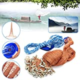 4.8M Cast Fishing Net Saltwater Bait Casting Strong Nylon Line With Sinker 8FT Brown
