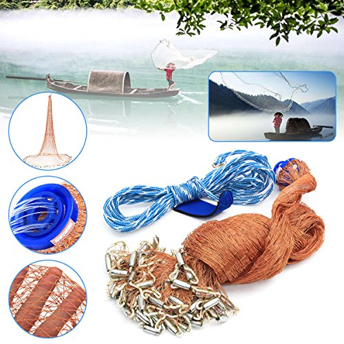 4.8M Cast Fishing Net Saltwater Bait Casting Strong Nylon Line With Sinker 8FT Brown by Ologymart