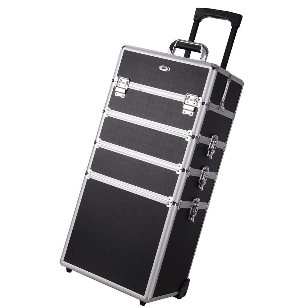 2 Extendable Tiers Black 4 in 1 Interchangeable Rolling Makeup Case Organizer Trolley w/ Adjustable Tray Dividers