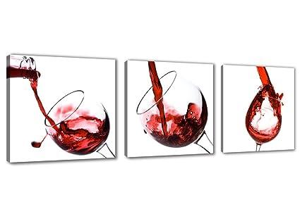 Visario 4219 - Quadro su tela per cucina, motivo Bicchiere di vino ...
