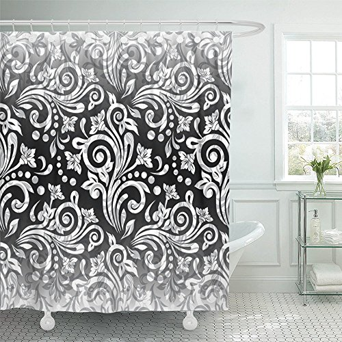 Silver Ring Scroll Borders - Emvency Shower Curtain Waterproof Black Abstract Damask Floral Pattern Colorful Antique Arabic Baroque Border Polyester Fabric 72 x 72 Inches Set With Hooks