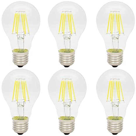 6X E27 Bombilla Edison 6W Blanco Frío LED Retro A60 Lámpara Antigua Super Brillante 420LM Bombillas