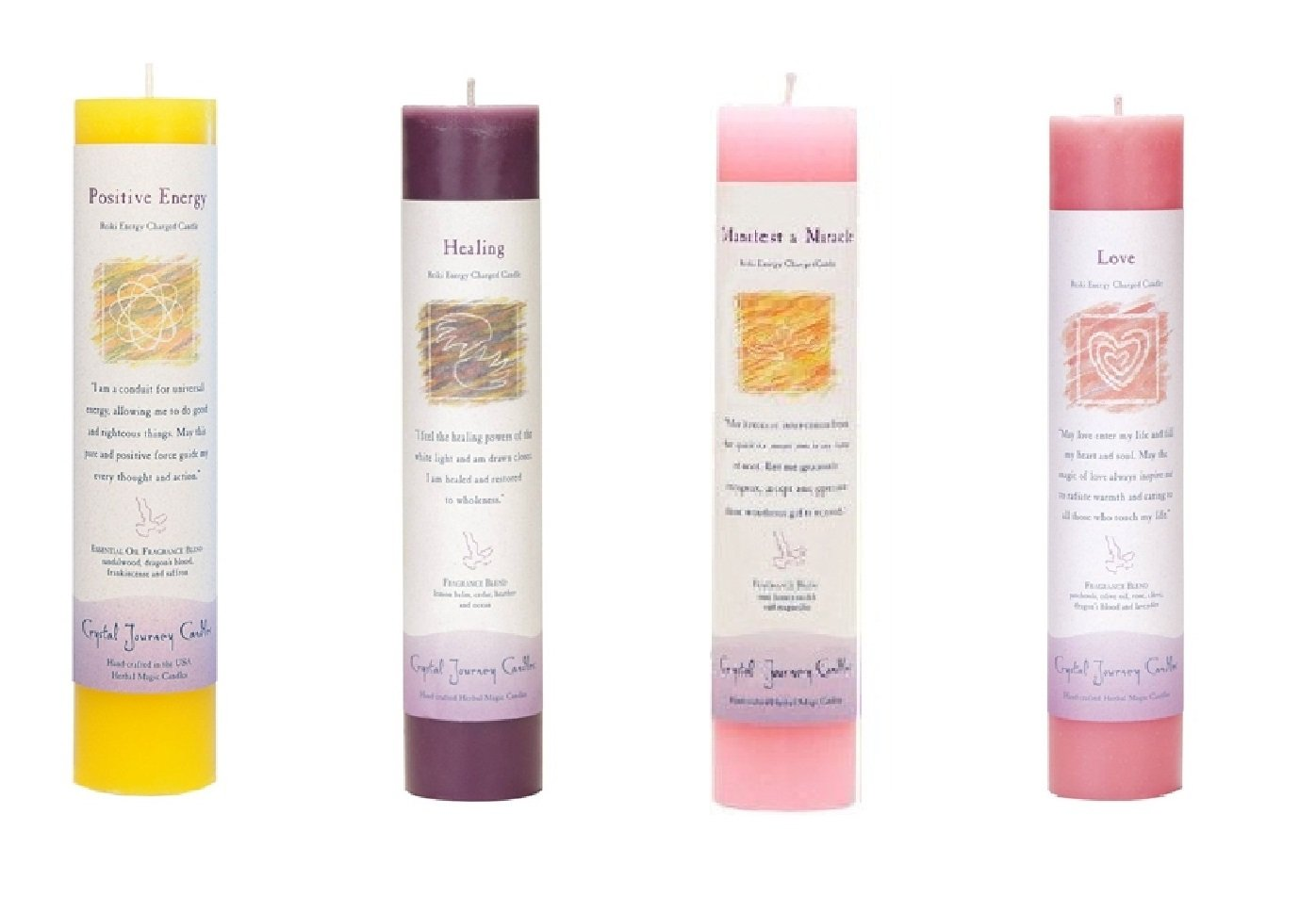 Crystal Journey Reiki Charged Herbal Magic Pillar Candle with Inspirational Labels - Bundle of 4 (Positive Energy, Healing, Manifest a Miracle, Love) Each 7''x1.5'' handcrafted with lead-free materials
