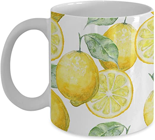 amazon com watercolor seamless background of lemons coffee mug white 11 oz unique gifts by humugous kitchen dining watercolor seamless background of lemons coffee mug white 11 oz unique gifts by humugous