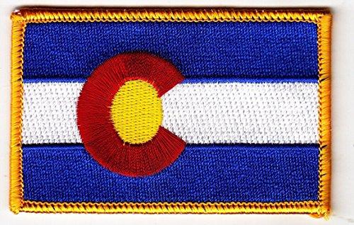 "COLORADO STATE FLAG 3.5"" x 2.25"" logo Iron On Embroidered Pa"