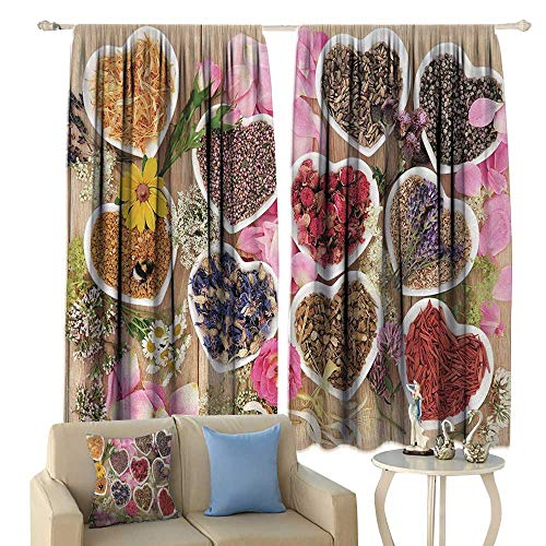 (Floral, Window Curtain Drape, Healing Herbs Heart Shaped Bowls Flower Petals on Wooden Planks Print Healthcare, Customized Curtains,(W55 x L63 Inch,)