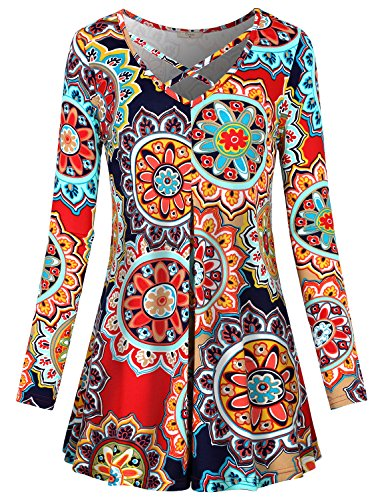 Ethnic Cross (Floral Tops for Women,Cestyle Ladies Ethnic Clothing Juniors Longs Sleeve Criss Cross V Neck Dressy Tshirt Blouse Knit Pullover Vintage Sunflower Printed Drape Hem Tunics for Leggings Multi-Red Medium)