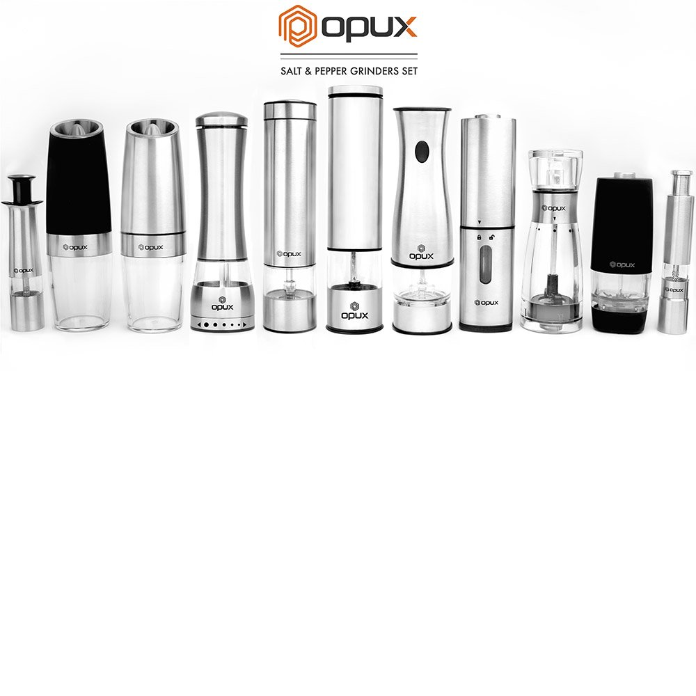 OPUX Premium Deluxe Electric Salt and Pepper Grinder Set | Automatic Pepper Mill, Battery Operated Salt Shaker | Adjustable Coarseness with LED Light (Matte Black) by OPUX (Image #9)