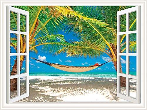 (Walls 360 Peel & Stick Wall Decal Window Views Hammock Between Palm Trees on Beach (12 in x 9 in))
