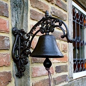 Antikas - campana para el jardín estilo de casa del campo - campana de pared Finca rústica - campanas de hierro fundido: Amazon.es: Bricolaje y herramientas