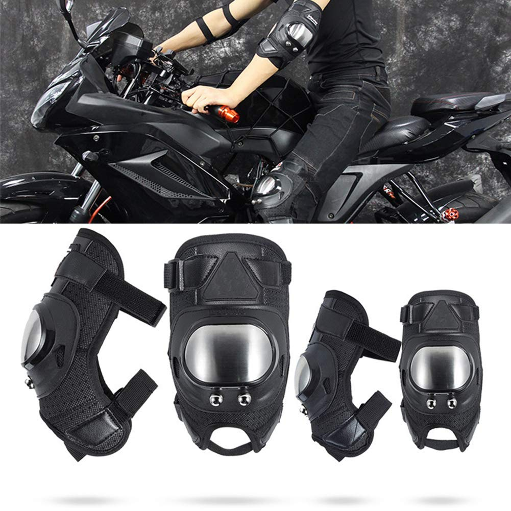 MJY 4 PCS Motorcycle Aluminum Elbow and Knee Shin Protector Pads Guards for Adults Motorcycle Motocross Bike Racing