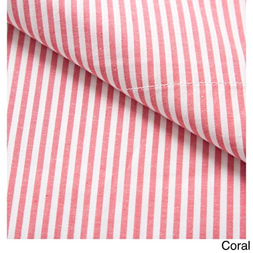 Westport Linens Oxford Stripe 100-percent Cotton Yarn Dyed King Pillow Cases Coral (Pillowcase Stripe Oxford)