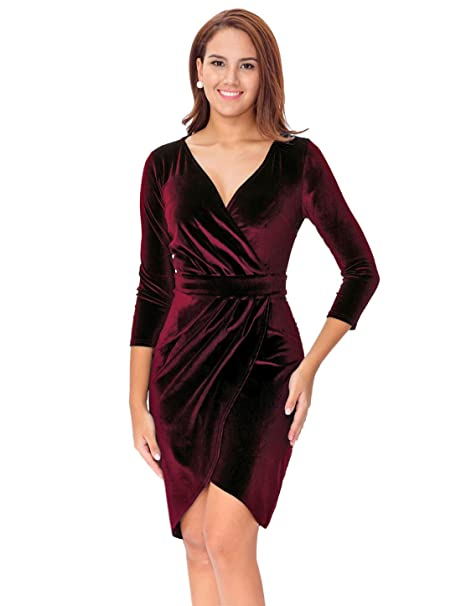 25e4f09b68d InsNova Women's Burgundy V-Neck 3/4 Sleeve Velvet Bodycon Wrap Dress for  Cocktail