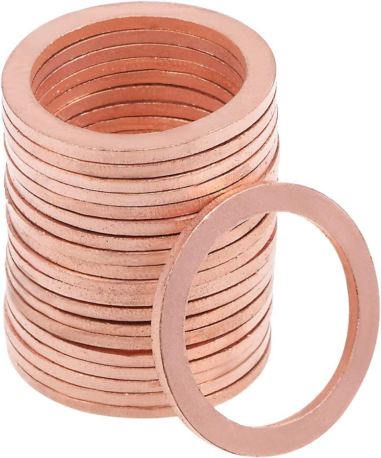 uxcell 20Pcs 27.3mm x 35mm x 1.5mm Copper Flat Washer for Screw Bolt