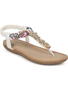 812ba8f2d77608 Alrisco Women Braided T-Strap Rhinestone Leaves Accent Flat Sandal HG25