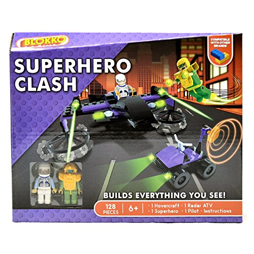 BLOKKO (TM) Construction Block Kit – Bricks Are Compatible With the Leading Brand – Stocking Stuffer - 128 Pieces – Superhero Clash
