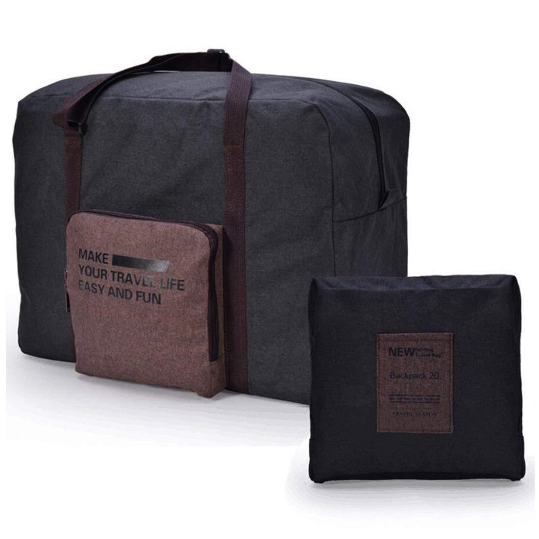36163ee6cf7e Rocoke Travel Duffel Bag Foldable Lightweight Waterproof Large Capacity  Luggage Bag (Black)