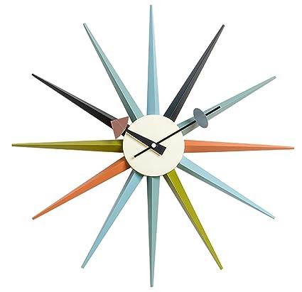 342fcc9baa4b Amazon.com  MLF Nelson Sunburst Clock in Multi Color