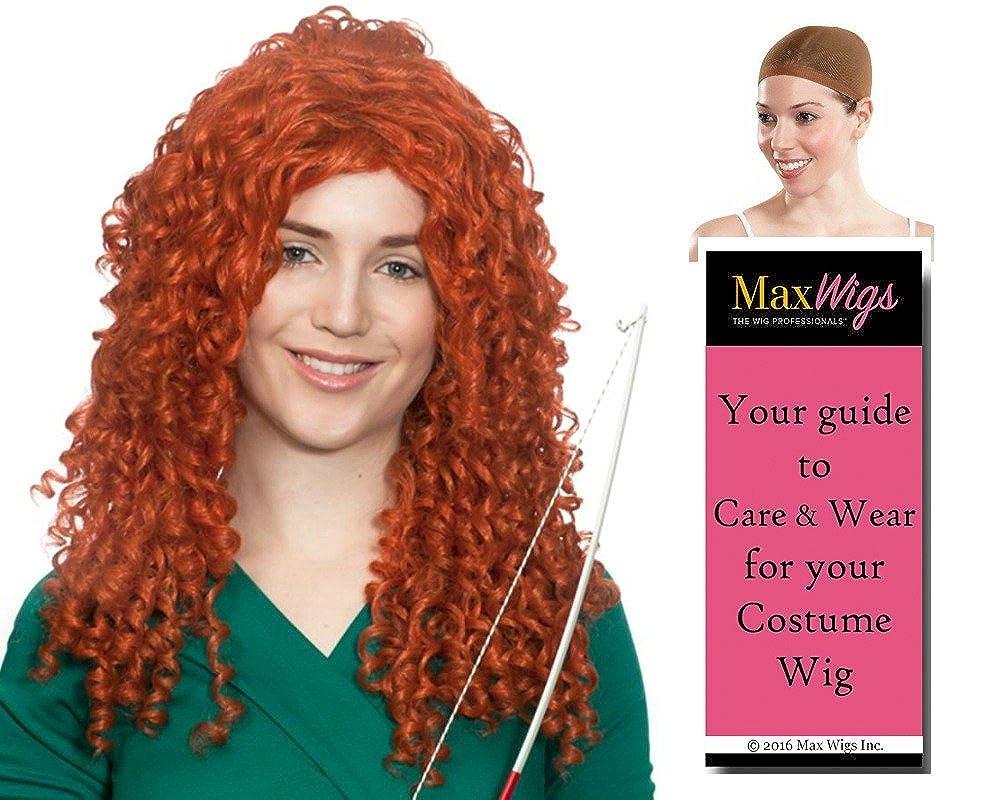 Amazon.com  Merida Princess Scottish Archer Color Auburn - Enigma Wigs  Women s Long Curly Courage Bundle with Wig Cap c75f50e25