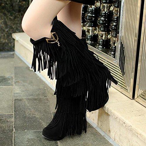 Herbst Winter Stiefel mit hohen Absätzen Fransen Stiefel Damenstiefel Schwarz