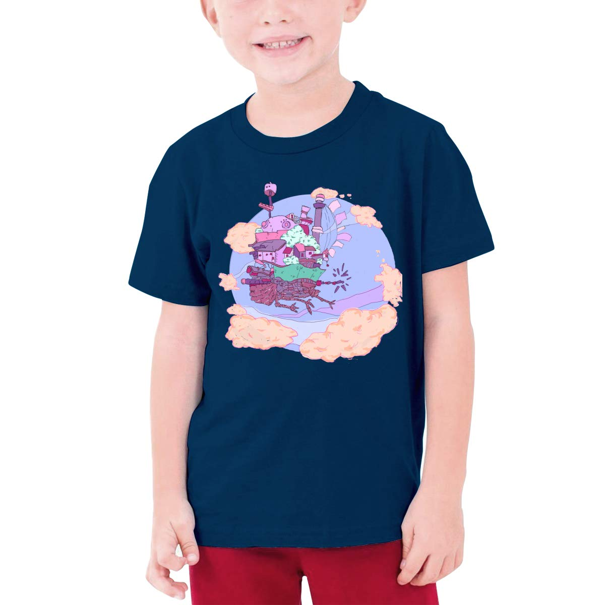 Runxin Customized Howls Moving Castle Funny Funny T Shirts O-Neck for Youngster Black