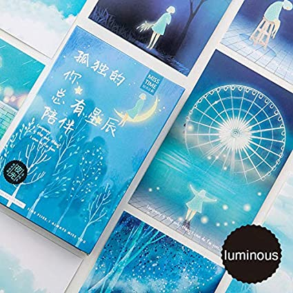 chitop 30 pcslot lonely stars postcard luminous paper greeting card christmas new year card