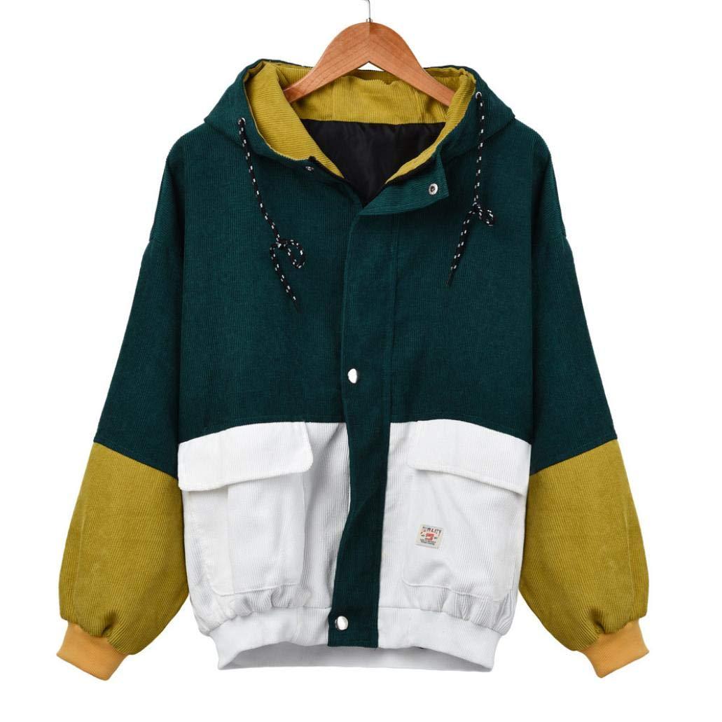 Liraly Womens Coats,Clearance Sale! 2022 New Women Long Sleeve Corduroy Patchwork Oversize Jacket Windbreaker Coat Overcoat(US-4 /CN-S,Green)