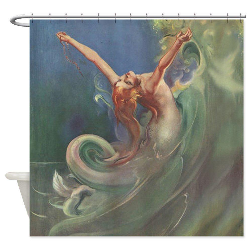 "CafePress - Vintage Mermaid Art - Decorative Fabric Shower Curtain (69""x70"")"
