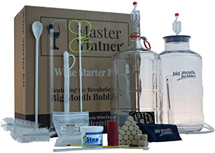 Master Vintner Wine Making Equipment Starter Kit with Plastic Big Mouth Bubbler and Glass Carboy