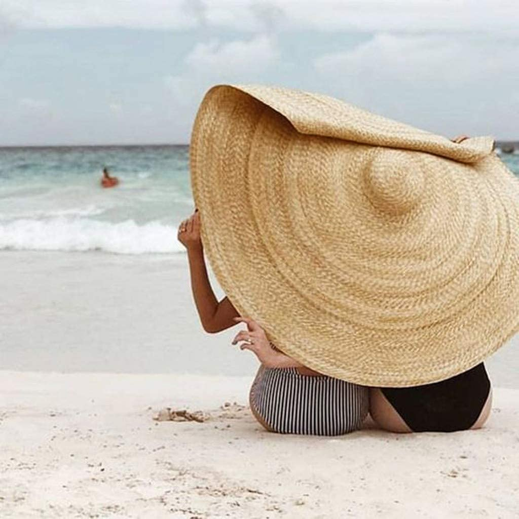 Sun Hat Large Beach Anti-UV Protection Straw Cap Cover Womens Wide Brim Floppy Roll up UPF 50+